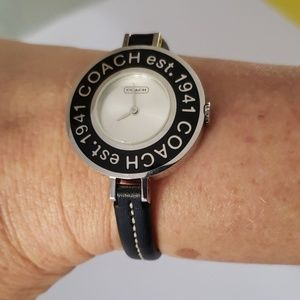 Coach Thin Black Band Silver Black Logo Watch